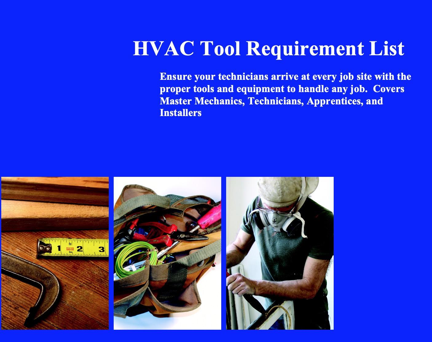 Required Tool List Mr Hvac